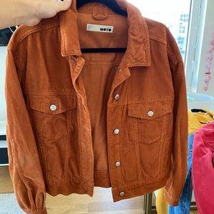 TOPSHOP Moto Burnt Orange Corduroy Jacket